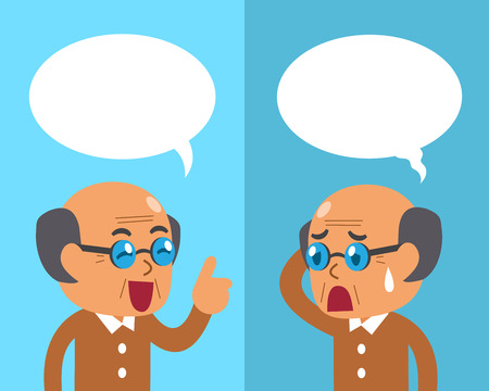 Cartoon senior man expressing different emotions with speech bubbles