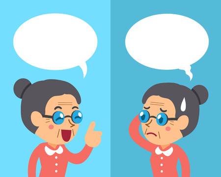 Cartoon senior woman expressing different emotions with speech bubbles Çizim