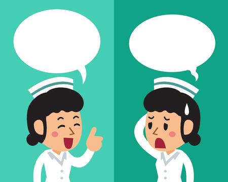 연설 거품 일러스트와 함께 다른 감정을 표현하는 여성 간호사 만화.