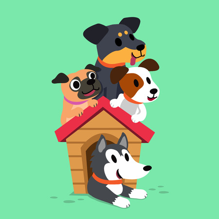 Cartoon dogs with a dog house Illustration