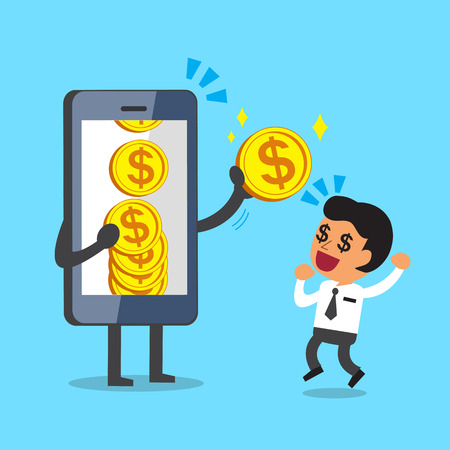 Business concept cartoon smartphone giving money coin to businessman Illustration