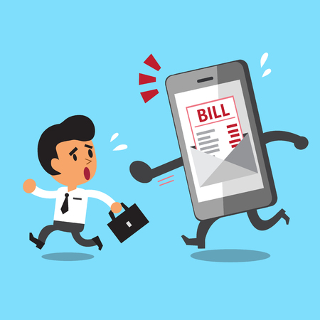 Business concept cartoon businessman escaping from smartphone and electronic bill payment