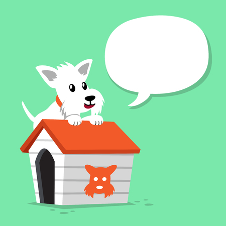 Cartoon character white scottish terrier dog and kennel with speech bubble Illustration
