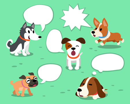 Cartoon dogs with white speech bubbles Illustration