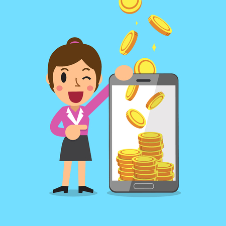 Business concept cartoon smartphone help a businesswoman to earn money