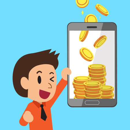 Business concept cartoon smartphone help businessman to earn money