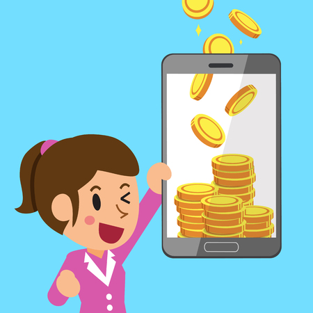 Business concept cartoon smartphone help businesswoman to earn money