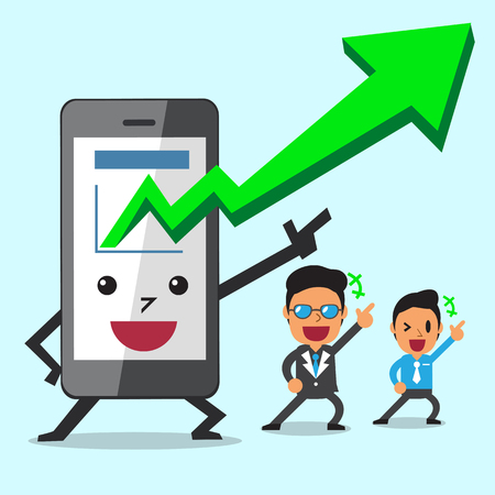 touch screen phone: Business Concept cartoon smartphone take More profits with business team Illustration