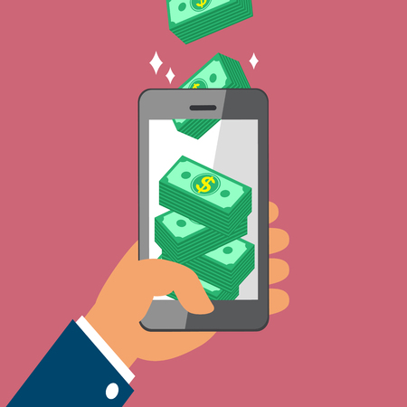 touch screen phone: Hand holding smart phone and earning money stack