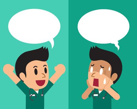 연설 거품과 다른 감정을 표현하는 만화 남성 간호사