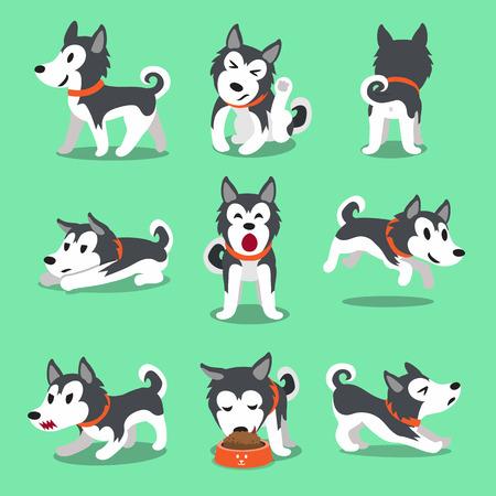 Cartoon character Siberian husky dog poses Illustration