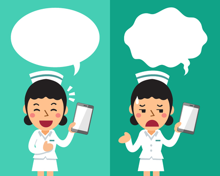 Cartoon female nurse with smartphone expressing different emotions with speech bubbles