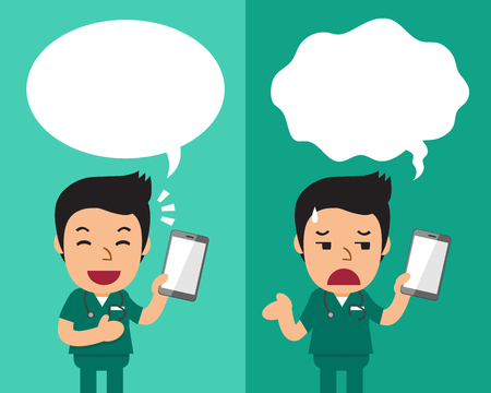 Cartoon male nurse with smartphone expressing different emotions with speech bubbles