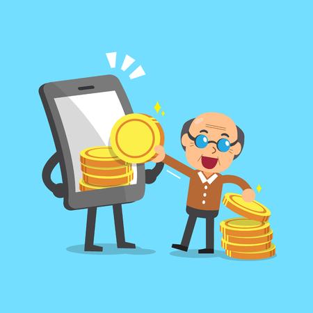 telephone cartoon: Business concept cartoon smartphone help senior man to earn money