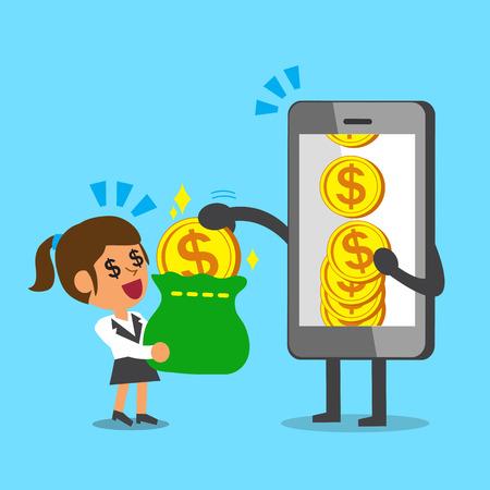 big screen: Business concept cartoon smartphone giving money coin to businesswoman