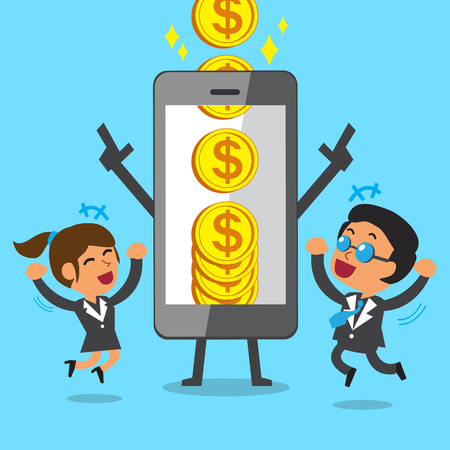 Business concept cartoon smartphone help business team to earn big coins
