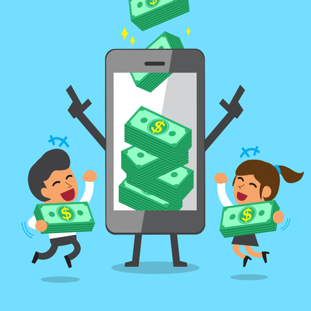 Business concept cartoon smartphone help business team to earn money stacks