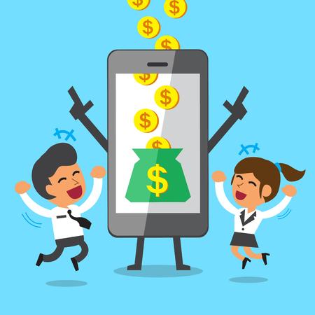 ビジネス コンセプト漫画スマート フォンを助けるお金を稼ぐビジネスマンや実業家