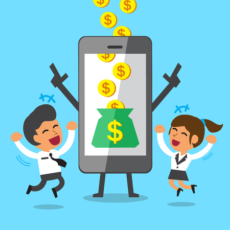 Business concept cartoon smartphone help businessman and businesswoman to earn money