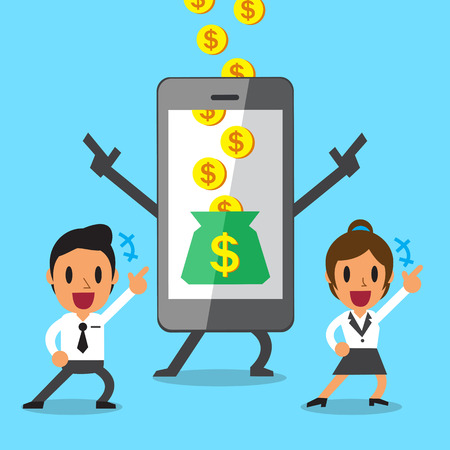 Business concept cartoon smartphone help businessteam to earn money Illustration