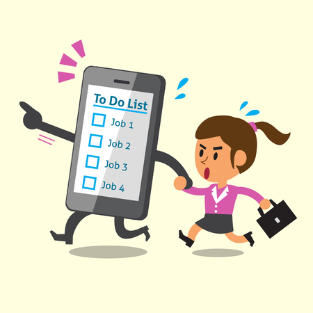 communication concept: Business concept cartoon smartphone running with a businesswoman