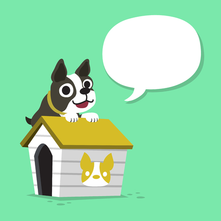 Cartoon character boston terrier dog and kennel with speech bubble Illustration