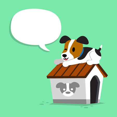 Cartoon character jack russell terrier dog and kennel with speech bubble