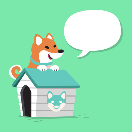 domesticated: Cartoon character shiba inu dog and kennel with speech bubble