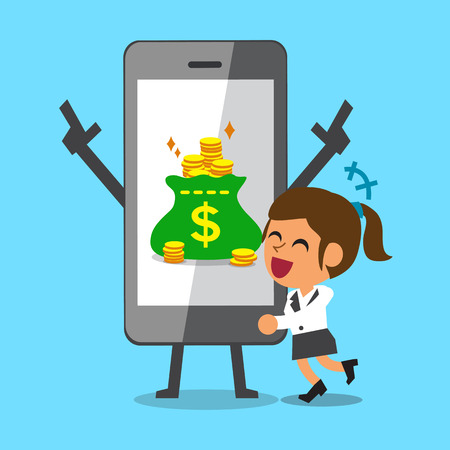 Cartoon businesswoman hugging smartphone that earned money