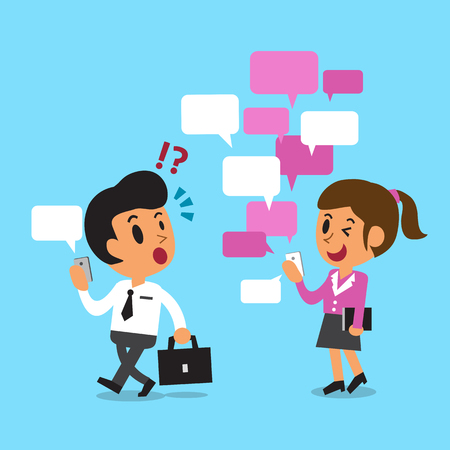 Cartoon businesswoman uses messaging app more than businessman