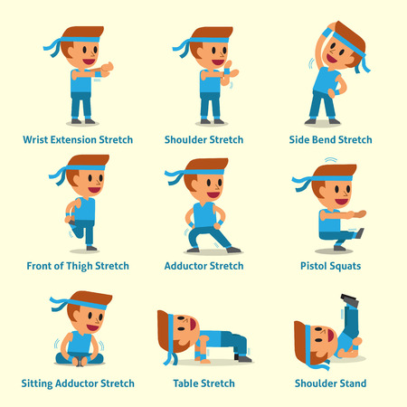 Cartoon set of man doing exercises for health and fitness