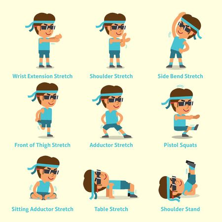 Cartoon set of man doing exercises for health Stock Vector - 84280577