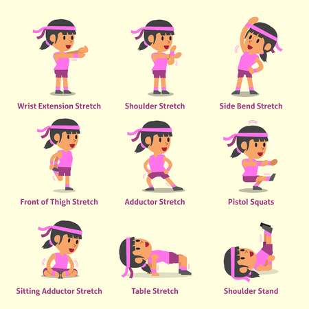 Cartoon set of woman doing exercises for health and fitness