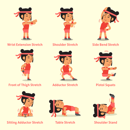 Cartoon set of woman doing exercises for health Stock Vector - 84280977