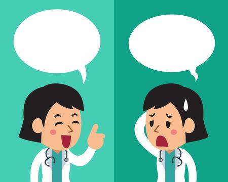 연설 거품과 다른 감정을 표현하는 여성 의사의 만화