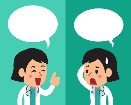 Cartoon of a female doctor expressing different emotions with speech bubbles Illustration