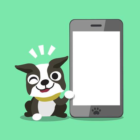 Cartoon boston terrier dog and big smartphone