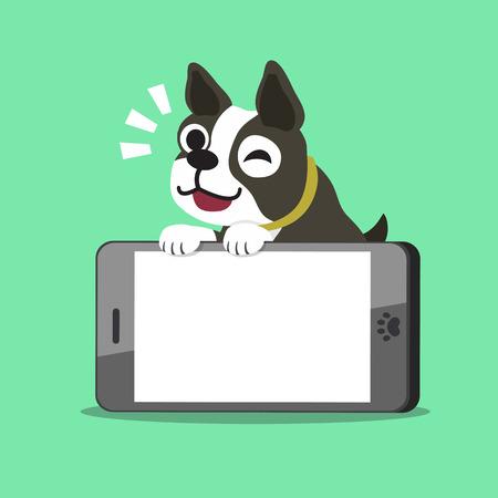 Cartoon boston terrier dog and smartphone