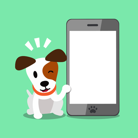 Cartoon character jack russell terrier dog and smartphone