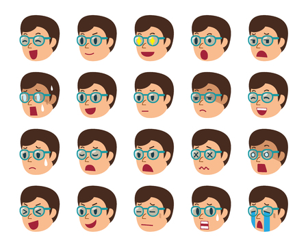 Cartoon set of man faces showing different emotions