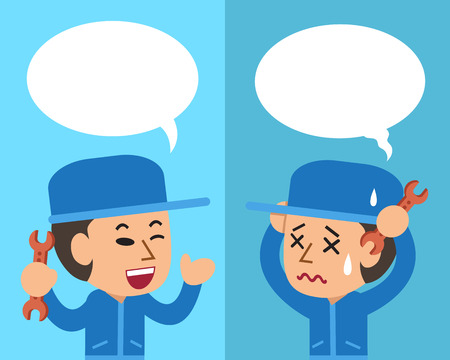 Cartoon technician expressing different emotions with speech bubbles Illustration
