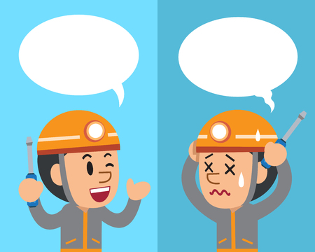 Vector cartoon technician expressing different emotions with speech bubbles Illustration