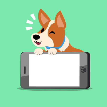 Cartoon character dog and big mobile phone