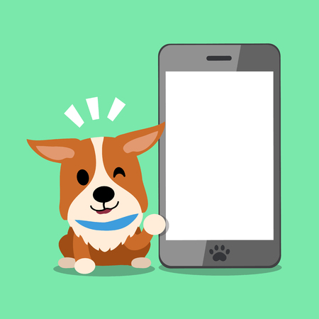 Cartoon character dog and big mobile phone Illustration