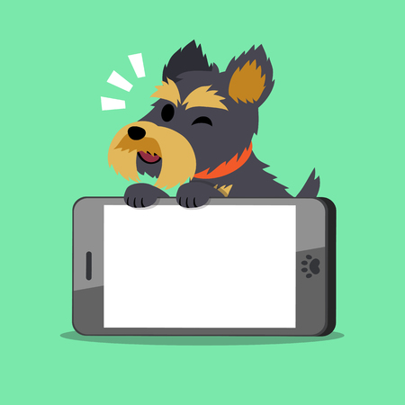 big screen: Cartoon character Yorkshire dog and mobile phone
