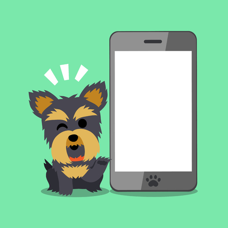 big screen: Cartoon character Yorkshire terrier dog and mobile phone