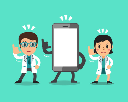 big screen: Cartoon male doctor and female doctor with smartphone