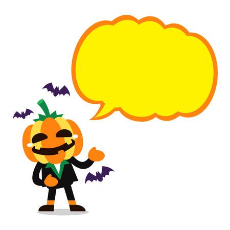 Vector cartoon character halloween pumpkin with big speech bubble