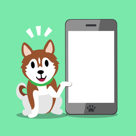 Cartoon character brown siberian husky dog and smartphone Ilustrace