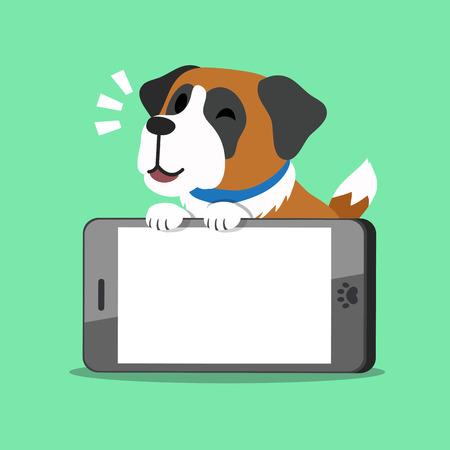Cartoon character saint bernard dog and big smartphone
